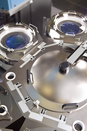 View of Centura RP EPI system from above, used for CMOS technology in semiconductor production
